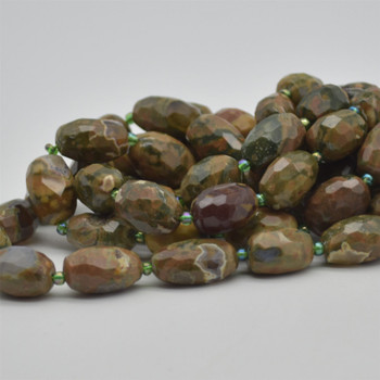 "High Quality Grade A Natural Rhyolite Semi-precious Gemstone Faceted Baroque Nugget Beads - 9mm - 10mm x 13mm - 15mm - 15.5"" strand"
