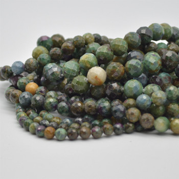 """High Quality Grade A Natural Ruby Zoisite Semi-Precious Gemstone Faceted Round Beads - 6mm, 8mm, 10mm sizes - 15.5"""" long"""
