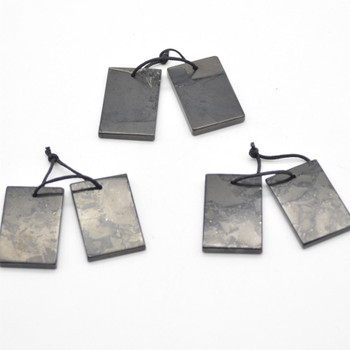 Natural Shungite Rectangular Shaped Semi-precious Gemstone Earrings / Pendants - Approx  3cm x 2cm - 1  pair