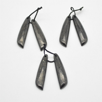 Natural Shungite Long Leaf Shaped Semi-precious Gemstone Earrings / Pendants - Approx  4.5cm x 1cm - 1  pair