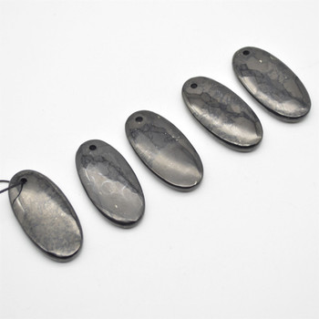 Natural Shungite Oval Shaped Semi-precious Gemstone Pendant - Approx  6cm x 3cm - 1  count