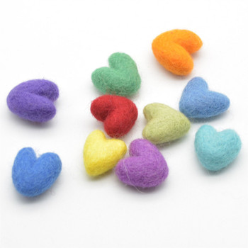 Assorted 100% Wool Felt Hearts - 2cm - Rainbow Colours - 10 Count