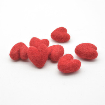 100% Wool Felt Hearts - 2cm - 10 Count - Red