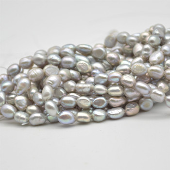 """High Quality Grade A Natural Freshwater Baroque Nugget Pearl Beads - Dyed - Grey - approx 6mm - 7mm - approx 15"""" strand"""