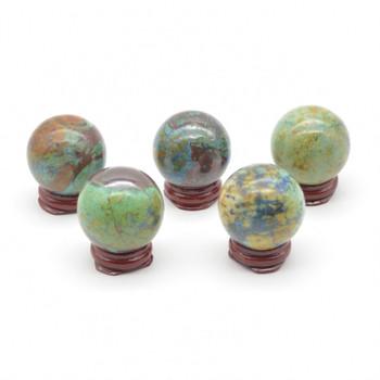 Natural Azurite Malachite Semi-precious Gemstone Sphere Ball  - 1 Count - approx 4cm - approx 90 - 110 grams
