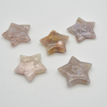 Natural Flower Agate Semi-precious Gemstone Star - Approx 5cm - 1 count