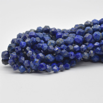 """High Quality Grade A Natural Lapis Lazuli Semi-Precious Gemstone Star Cut Faceted Round Beads - 6mm, 8mm sizes - 15.5"""" long"""