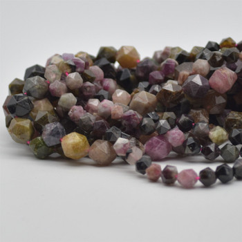 """High Quality Grade A Natural Multi-coloured Tourmaline Semi-Precious Gemstone Star Cut Faceted Round Beads - 6mm, 8mm sizes - 15.5"""" long"""