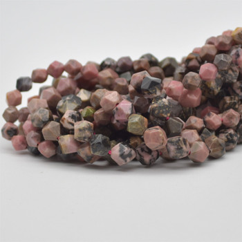 """High Quality Grade A Natural Rhodonite Semi-Precious Gemstone Star Cut Faceted Round Beads - 6mm, 8mm sizes - 15.5"""" long"""