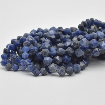 """High Quality Grade A Natural Sodalite Semi-Precious Gemstone Star Cut Faceted Round Beads - 6mm, 8mm sizes - 15.5"""" long"""