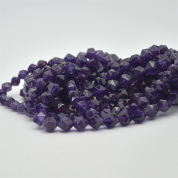 """High Quality Grade A Natural Amethyst Semi-Precious Gemstone Star Cut Faceted Round Beads - 6mm, 8mm sizes - 15.5"""" long"""