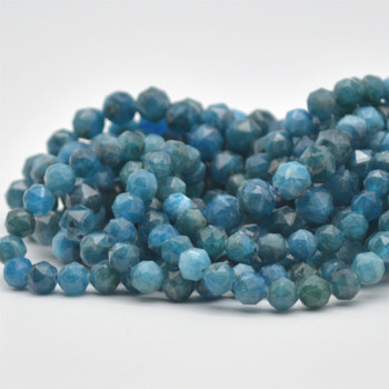 """High Quality Grade A Natural Apatite Semi-Precious Gemstone Star Cut Faceted Round Beads - 6mm, 8mm sizes - 15.5"""" long"""
