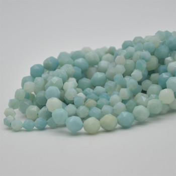 """High Quality Grade A Natural Chinese Amazonite Semi-Precious Gemstone Diamond Faceted Round Beads - 6mm, 8mm sizes - 15.5"""" long"""
