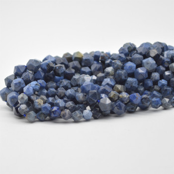 """High Quality Grade A Natural Dumortierite Semi-Precious Gemstone Diamond Faceted Round Beads - 6mm, 8mm sizes - 15.5"""" long"""