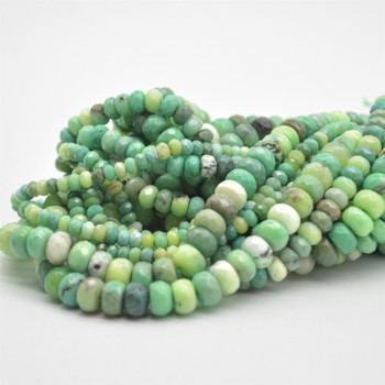"High Quality Grade A Natural Green Moss Opal Semi-Precious Gemstone FACETED Rondelle Beads - 4mm, 6mm, 8mm sizes - 15.5"" long"