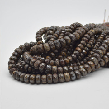"""High Quality Grade A Natural Bronzite Semi-Precious Gemstone FACETED Rondelle Beads - 6mm, 8mm, 10mm sizes - 15.5"""" long"""