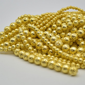 """High Quality Grade A Natural Black Lava (Gold Colour Plated) Semi-Precious Gemstone Round Beads - 4mm, 6mm, 8mm, 10mm sizes - 15.5"""" long"""