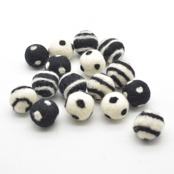 100% Wool Felt Balls - 16 Count - Polka Dots & Swirl Felt Balls - Ivory and Black Halloween Mix - 2.5cm
