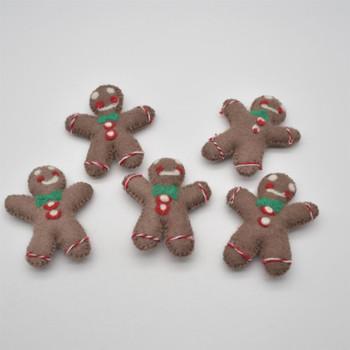 Felt Gingerbread Man - 4 Count - 11cm x 9cm x 2cm