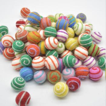 100% Wool Felt Balls - 2cm - 100 Count - Assorted Swirl Felt Balls - Bright Colours