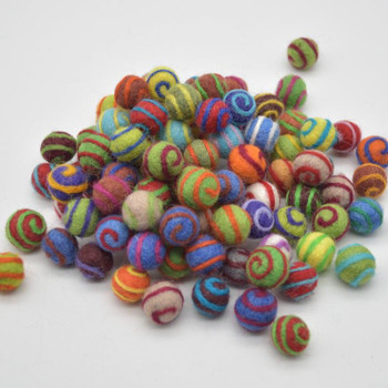 100% Wool Felt Balls - 1.5cm - 100 Count - Assorted Swirl Felt Balls - Bright Colours