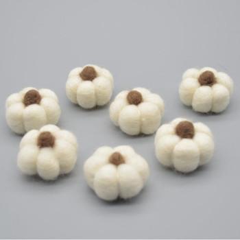 100% Wool Felt Pumpkins - 5 Count - Ivory - 4cm x  2cm - 2.5cm