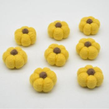 100% Wool Felt Pumpkins - 5 Count - Mustard Yellow - 4cm x  2cm - 2.5cm