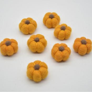 100% Wool Felt Pumpkins - 5 Count - Orange - 4cm x  2cm - 2.5cm