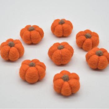 100% Wool Felt Pumpkins - 5 Count - International Orange - 4cm x  2cm - 2.5cm