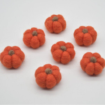 100% Wool Felt Pumpkins - 5 Count - Tangelo Orange - 4cm x  2cm - 2.5cm
