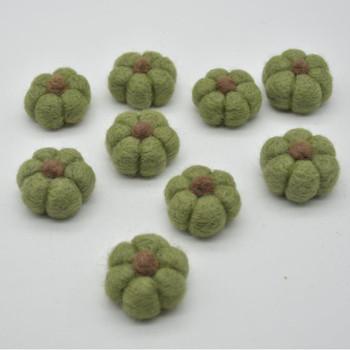 100% Wool Felt Pumpkins - 5 Count - Dark Olive Green - 4cm x  2cm - 2.5cm