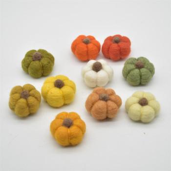 100% Wool Felt Pumpkins - 10 Count - Assorted Colours - 4cm x  2cm - 2.5cm