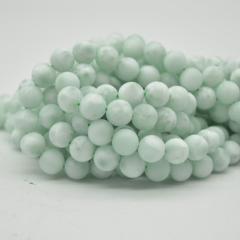 "High Quality Grade A Green Angelite Semi-precious Gemstone MATTE FROSTED Round Beads - 10mm - 15.5"" strand"