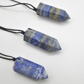 Natural Lapis Lazuli Semi-precious Gemstone Point Pendant - 4cm - 5cm - 1 Count
