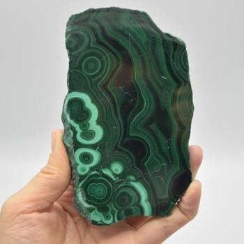 Natural Malachite Semi-precious Gemstone Slice / Slab - 1 count - 12cm x 7.5cm x 2cm - 368 grams - #07