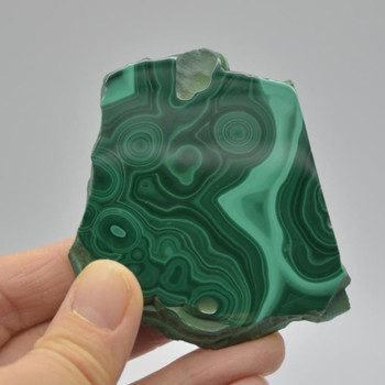 Natural Malachite Semi-precious Gemstone Slice / Slab - 1 count - 6.5cm x 6cm x 0.70cm - 81 grams - #01