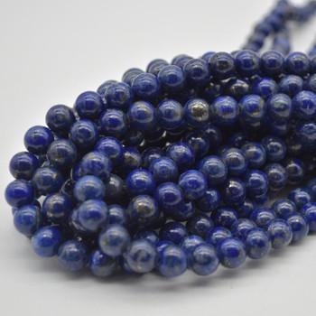 "Large Hole Beads - Natural Lapis Lazuli Semi-precious Gemstone Round Beads - 8mm - 15.5"" strand"