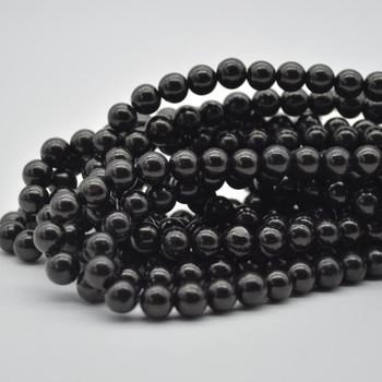 "Large Hole Beads - Natural Black Jet Semi-precious Gemstone Round Beads - 8mm - 15.5"" strand"