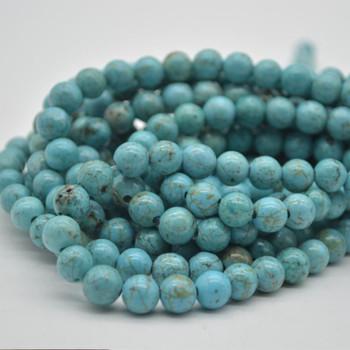 """Large Hole Beads - Turquoise (Dyed) Semi-precious Gemstone Round Beads - 8mm - 15.5"""" strand"""