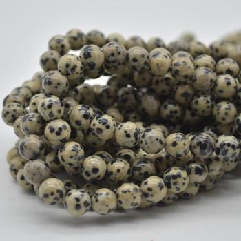 "Large Hole Beads - Natural Dalmation Jasper Semi-precious Gemstone Round Beads - 8mm - 15.5"" strand"