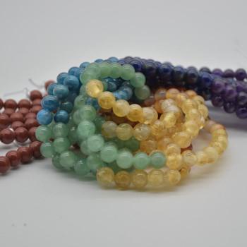 "Large Hole Beads - Natural 7 Chakra Semi-precious Gemstone Round Beads - 8mm - 15.5"" strand - Set02"