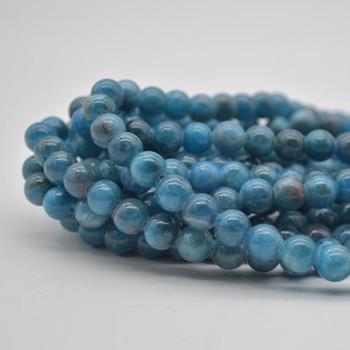 "Large Hole Beads - Natural Apatite Semi-precious Gemstone Round Beads - 8mm - 15.5"" strand"