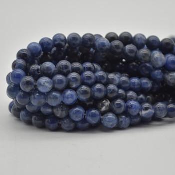 "Large Hole (2mm) Beads - Natural Sodalite Semi-precious Gemstone Round Beads - 8mm - 15.5"" strand"