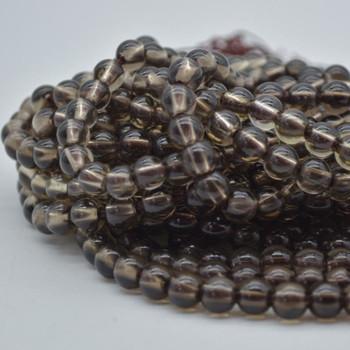 "Large Hole (2mm) Beads - Natural Smoky Quartz Semi-precious Gemstone Round Beads - 8mm - 15.5"" strand"