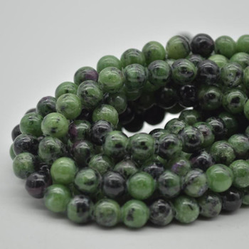 """Large Hole (2mm) Beads - Natural Ruby Zoisite Semi-precious Gemstone Round Beads - 8mm - 15.5"""" strand"""
