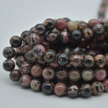 "Large Hole (2mm) Beads - Natural Rhodonite Semi-precious Gemstone Round Beads - 8mm - 15.5"" strand"