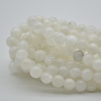 "Large Hole (2mm) Beads - Natural Rainbow Moonstone Semi-precious Gemstone Round Beads - 8mm - 15.5"" strand"