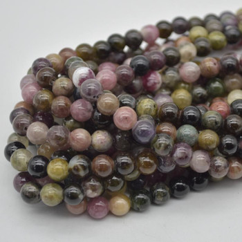 "Large Hole (2mm) Beads - Natural Multi-Colour Tourmaline Semi-precious Gemstone Round Beads - 8mm - 15.5"" strand"