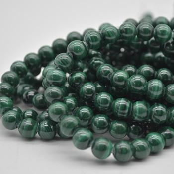 "Large Hole (2mm) Beads - Natural Malachite Semi-precious Gemstone Round Beads - 8mm - 15.5"" strand"