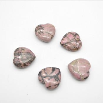 Natural Rhodonite Gemstone Heart - 1 count - 3cm - 20 grams